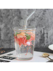 الإبداعية الزجاج فلامنغو مقاومة للحرارة كأس الزجاج مع غطاء القش - شفاف 350ml