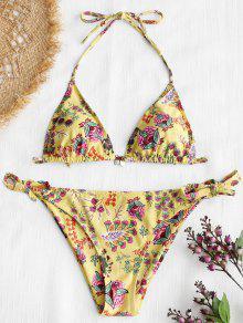 Conjunto De Bikini Halter De Estampado De Flores Silvestres - Amarillo M