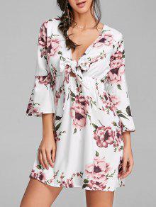 تغرق العنق بونوت الزهور طباعة اللباس مصغرة - أبيض Xl