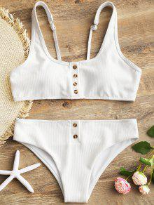 a8a2a3989971f 27% OFF] [HOT] 2019 Padded Ribbed Texture Buttons Bikini Set In ...