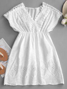 فستان مصغر عالية الخصر محبوك - أبيض