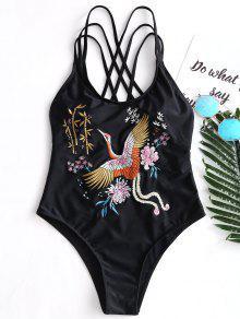 بدلة السباحة شريط مطرز - أسود L