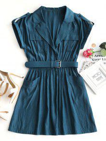 طية صدر السترة طوق مربوط اللباس مصغرة - الطاووس الأزرق S