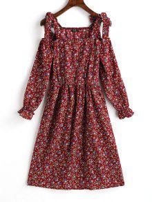 فستان مصغر باردة الكتف طباعة الازهار المصغرة - احمر غامق S