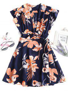 فستان مصغر لف ربطة طباعة الأزهار - ازرق غامق M