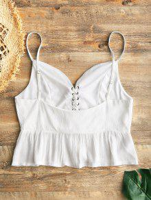 9208c67df9bfe2 35% OFF  2019 Embroidered Ruffle Lace Up Tank Top In WHITE