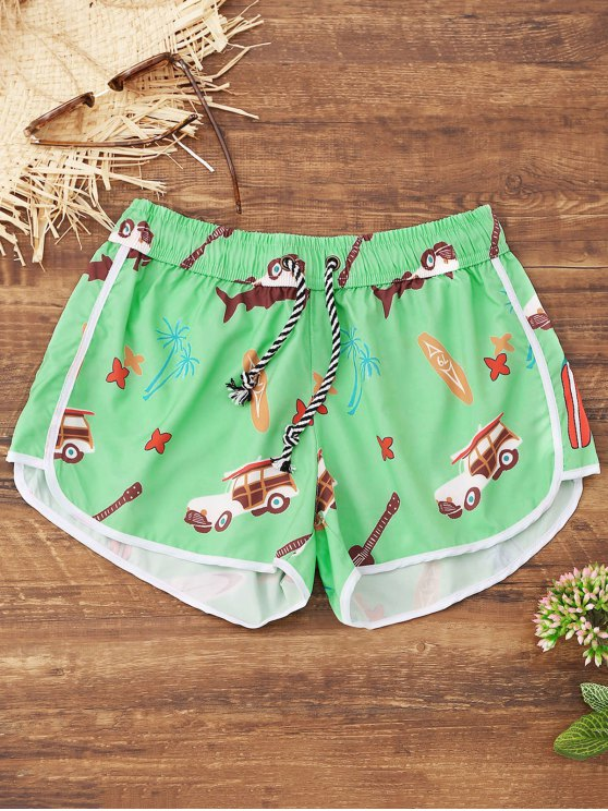 womens Cartoon Print Beach Shorts - GREEN M