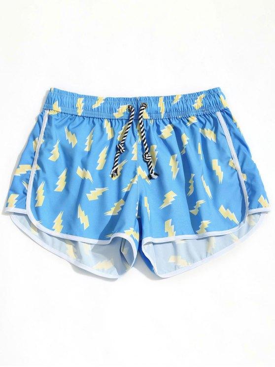 Lightning Print Beach Shorts - Azul-celeste XL