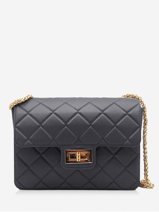 outfit Twist Lock Quilted Chain Crossbody Bag - BLACK