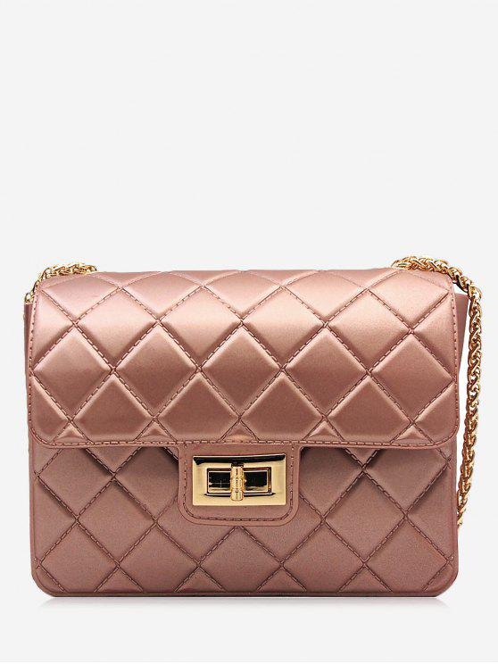 Twist Lock Quilted Chain Crossbody Bag - Rosa Dourado