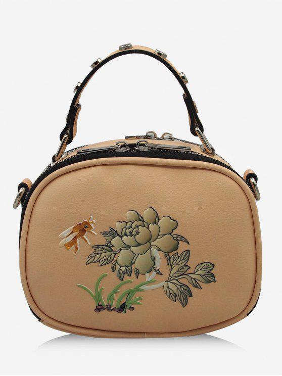 unique Studs Flower Bee Print Crossbody Bag - BEIGE