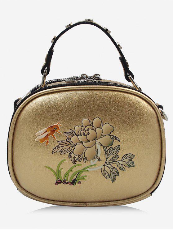 Bolso bandolera con estampado de abejas y flores de Studs - Luz de Oro