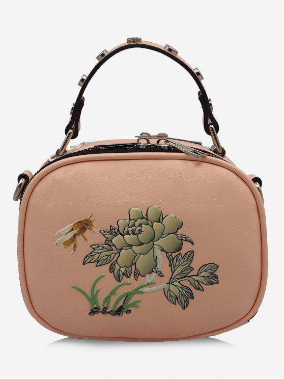 حقيبة كروسبودي بطبعة نحلة وأزهار مزينة بتفاصيل معدنية - زهري