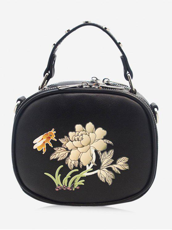 حقيبة كروسبودي بطبعة نحلة وأزهار مزينة بتفاصيل معدنية - أسود