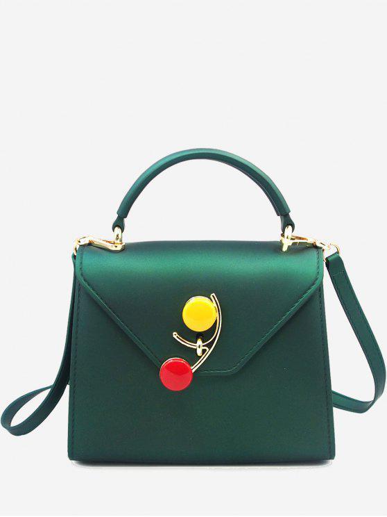 latest Contrasting Color Flap Handbag - GREEN