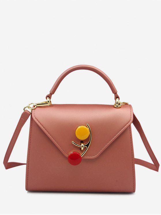 lady Contrasting Color Flap Handbag - ROSE GOLD
