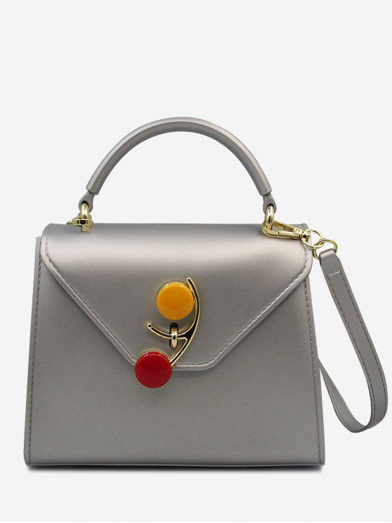 chic Contrasting Color Flap Handbag - SILVER