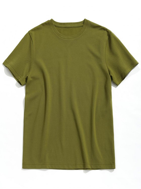 affordable Short Sleeve Plain Tee - ARMY GREEN 3XL
