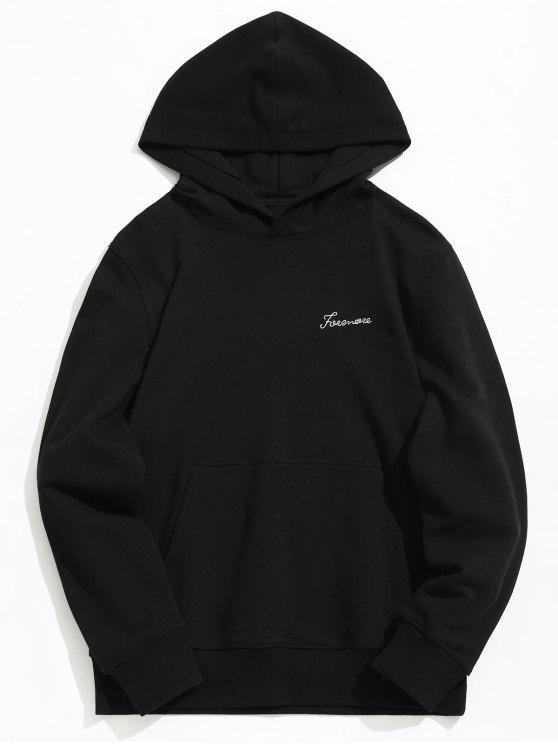 shop Kangaroo Pocket Graphic Embroidered Hoodie - BLACK M