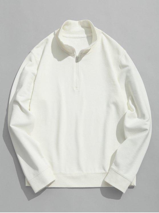 Sudadera con cuello redondo y media cremallera - Blanco XL