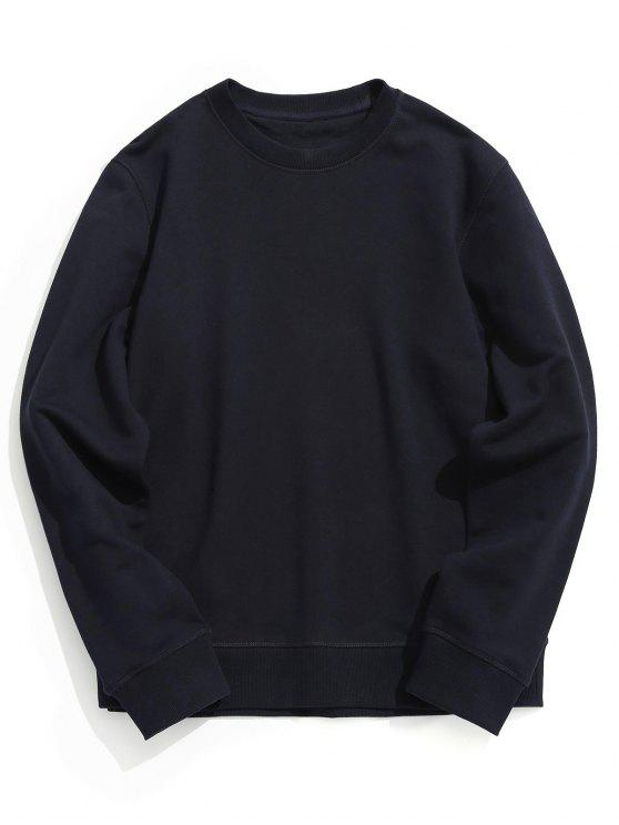 sale Crew Neck Plain Pullover Sweatshirt - PURPLISH BLUE L