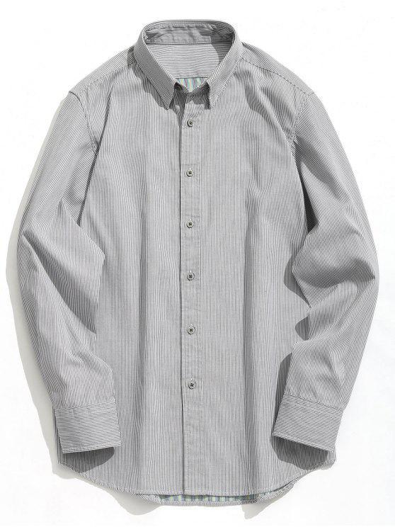 Button Striola Shirt - Weiß & Schwarz L