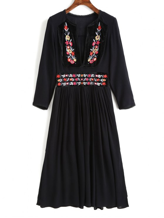 fashion Eyelet Trim Floral Embroidered Midi Dress - BLACK S