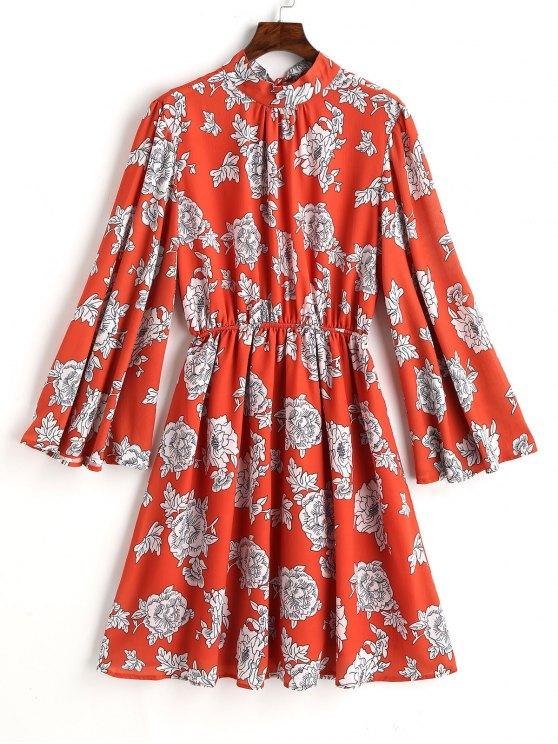 Robe Trapèze Florale à Dos Ouvert avec Cordon de Serrage - Floral L