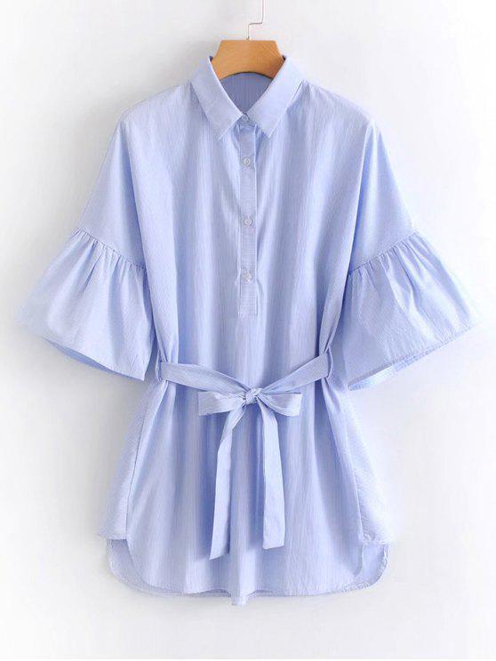 Robe Courte Rayée Ceinturée à Demi-Boutons - Bleu L