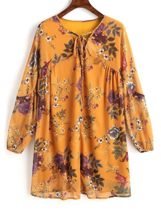 Robe Courte Tunique Florale à Lacets - Moutarde M
