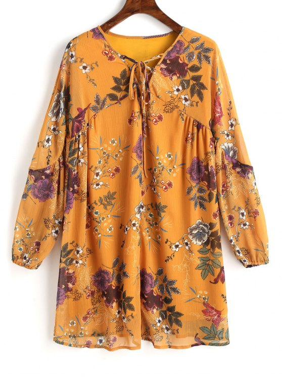 hot Floral Tunic Lace Up Mini Dress - MUSTARD L