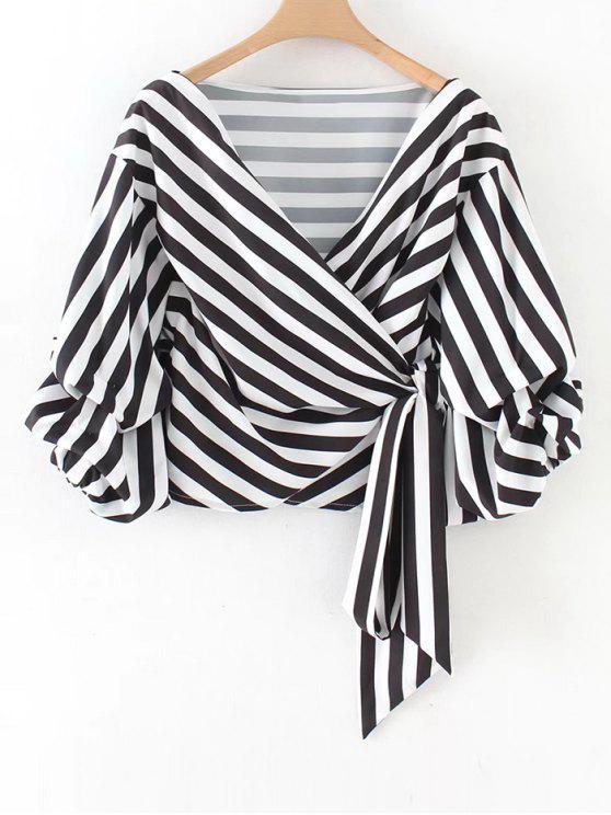 shops Gathered Sleeve Stripes Wrap Blouse - STRIPE L