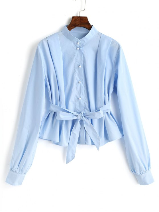 fashion Belted Button Up Blouse - LIGHT BLUE L