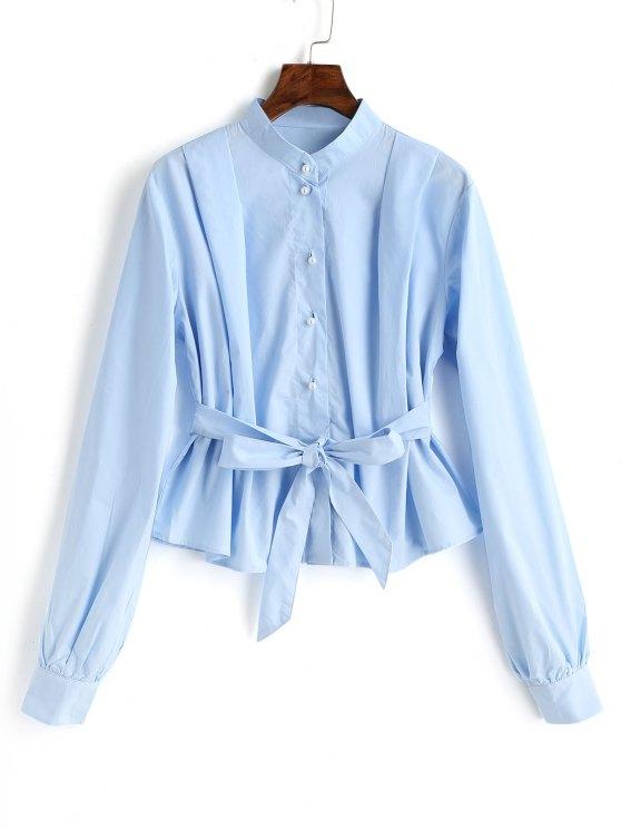 Blusa de botones con cinturón - Azul Claro L
