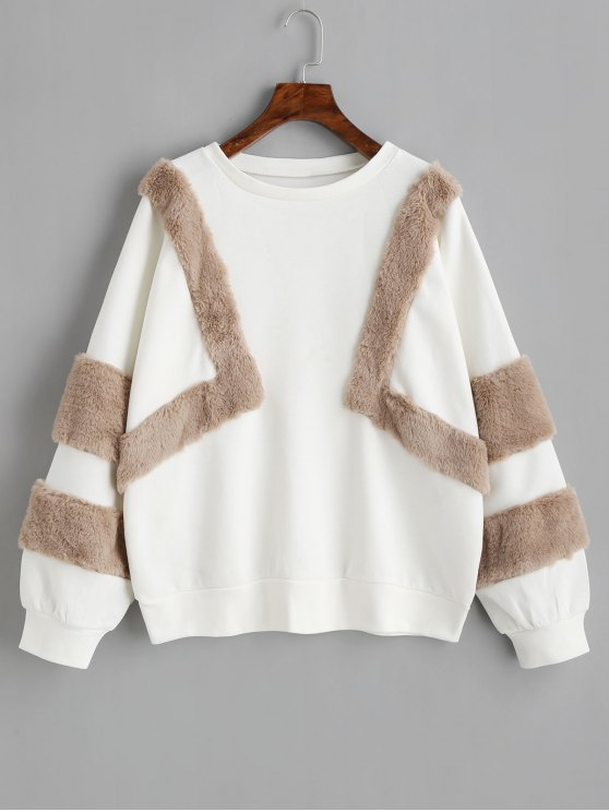 chic Oversized Textured Sweatshirt - WHITE S