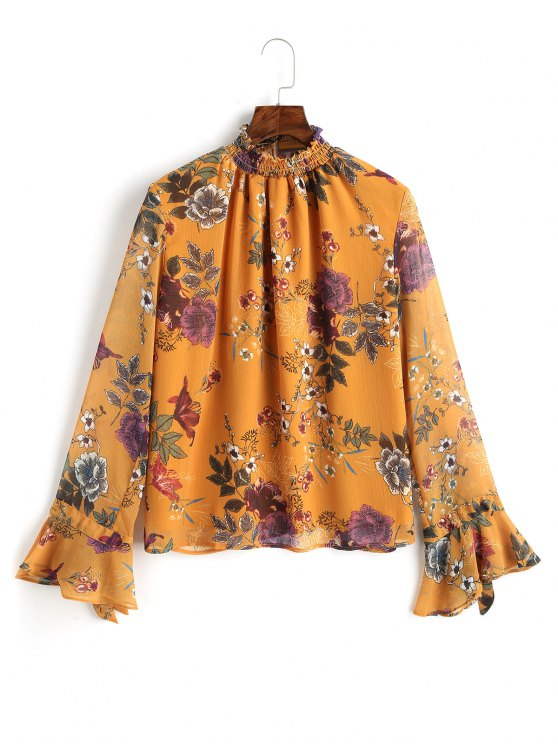 buy Ruffled Floral Flared Sleeve Blouse - MUSTARD L