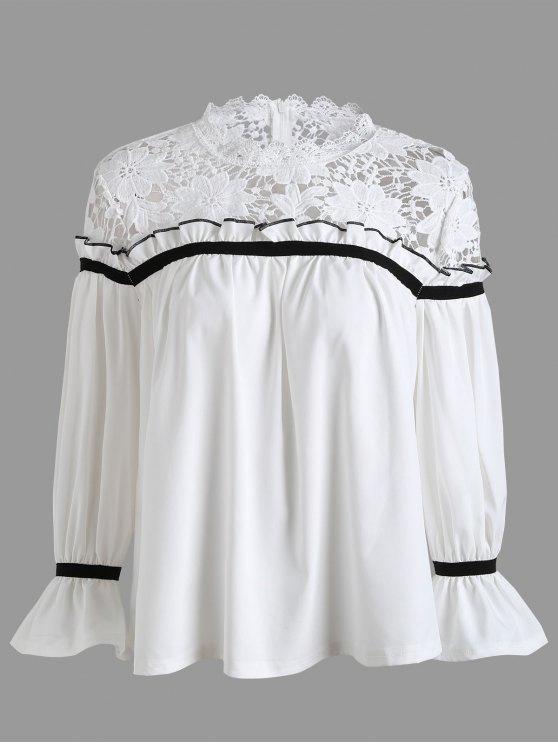 Blusa de panel de encaje de talla grande - Blanco 4XL