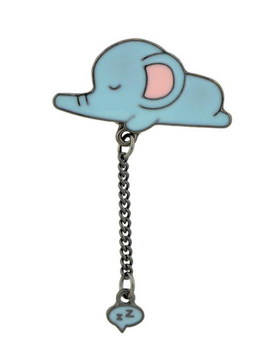 Tiny Cute Sleep Elephant Chain Brooch - Azul