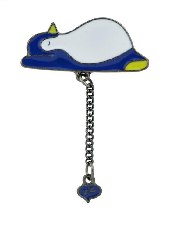Tiny Cute Sleep Penguin Chain Brooch - Cadetblue