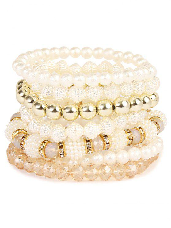 Strass Faux Perle elastisches Perlen Armband Set - Golden