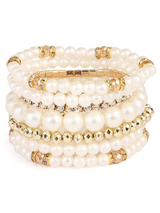 unique Rhinestoned Faux Pearl Beaded Bracelet Set - GOLDEN