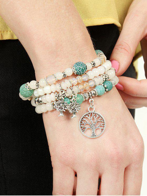 Faux Stone Pearl Multileayer Elastic Wrap Bracelet - Branco