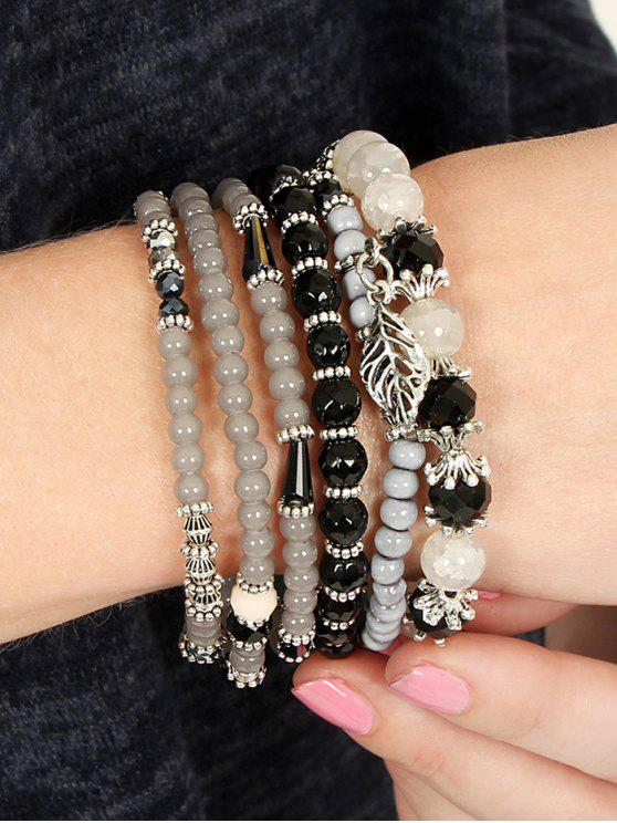 women's Multilayered Beaded Glass Wrap Bracelet - BLACK