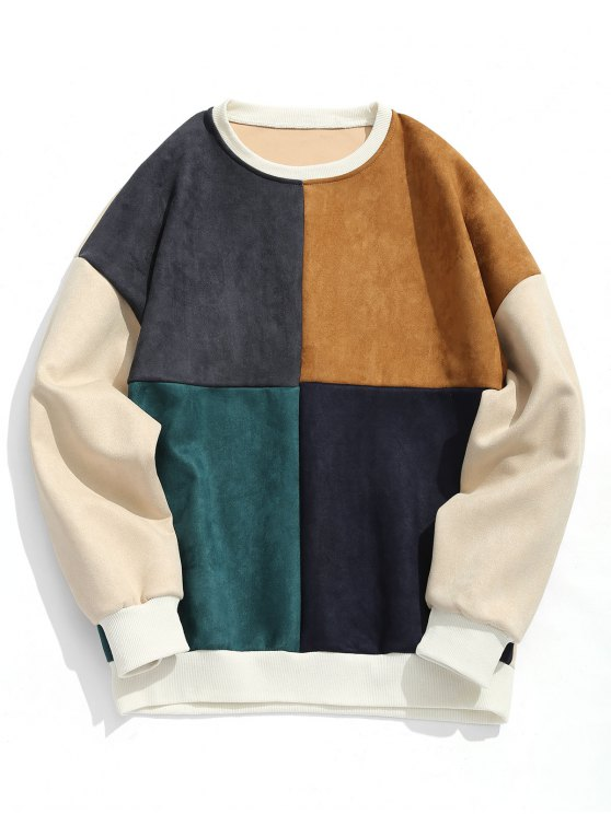 fancy Suede Color Block Crew Neck Sweatshirt - COLORMIX XL