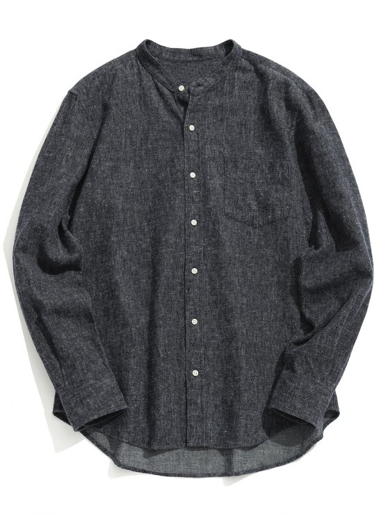 Pocket Mandarin Collar Shirt - Cinza Escuro L