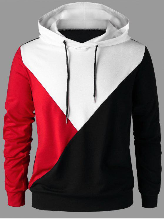 fashion Drawstring Neck Color Block Hoodie - COLORMIX 2XL