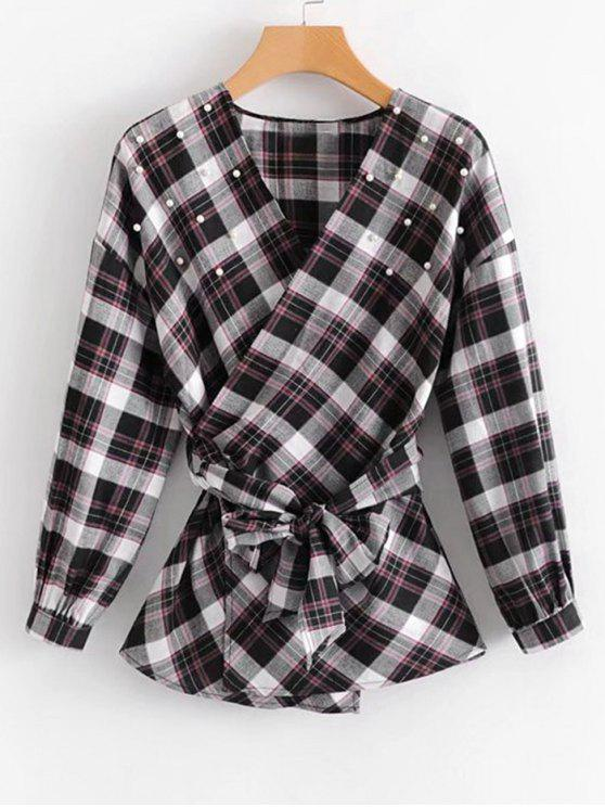 lady Faux Pearls Tartan Wrap Blouse - CHECKED M