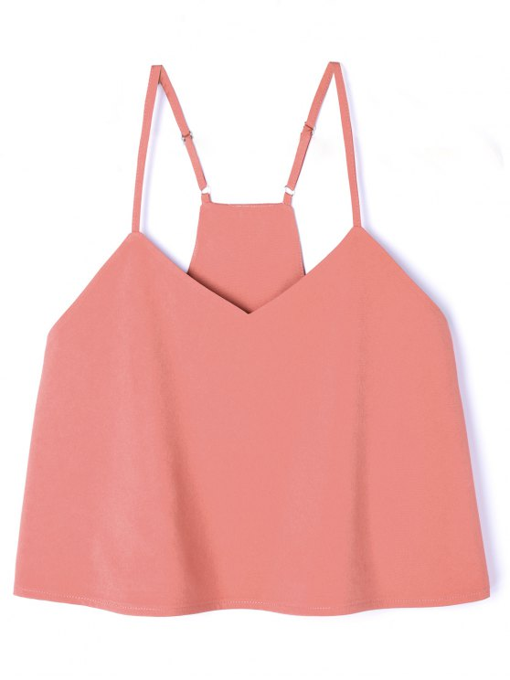 Verstellbares Riemen Poplin Geschnittenes Tank Top - orange pink  XL