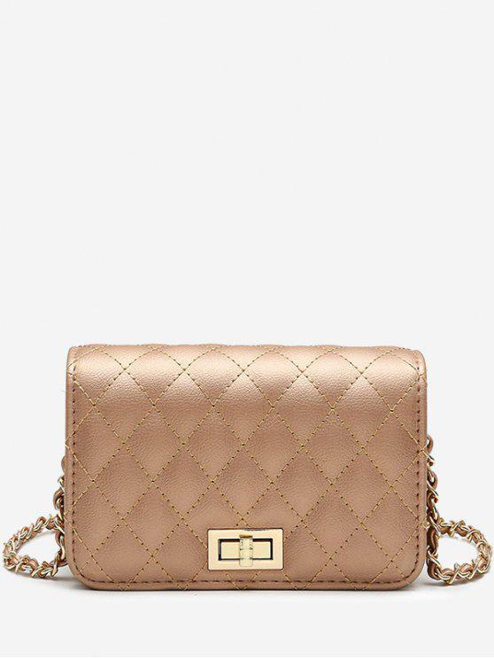latest Quilted Chain Crossbody Bag - GOLDEN