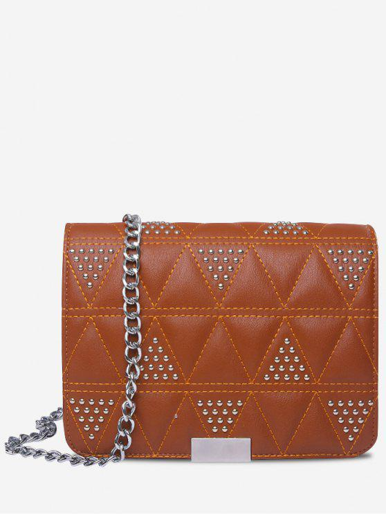 fashion Quilted Studded Crossbody Bag - BROWN